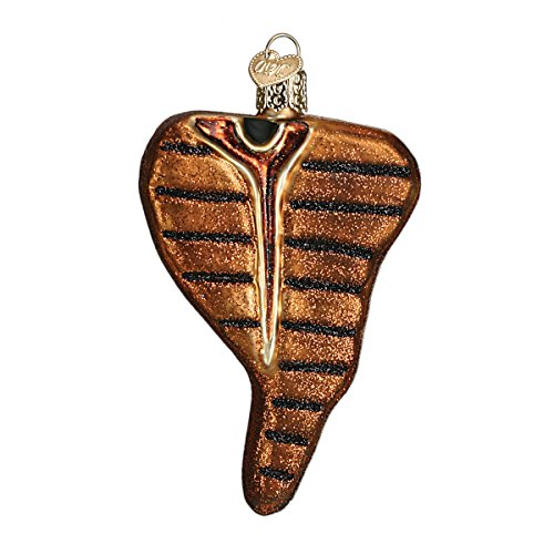 Old World Christmas T-Bone Steak Glass Blown Ornament