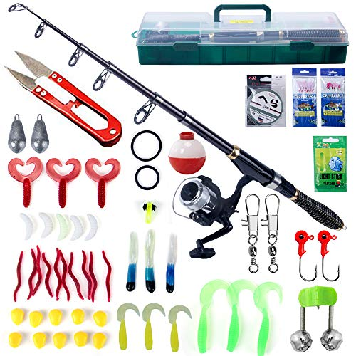 Oak-Pine 56 Pcs Portable Fishing Rod and Reel Combos Kit Carbon Fiber Telescopic Fishing Rod Fishing Lure Accessories Set Fishing Tackle Box with Handle for Freshwater Saltwater