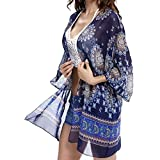 Lanzom Women Boho Chiffon Kimono Cover-ups Swimwear Beach Cover Up