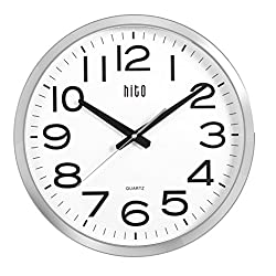 hito Silent Wall Clock Non ticking Large Oversized Excellent Accurate Sweep Movement Glass Cover, Modern Decorative for Kitchen, Living Room, Bathroom, Bedroom, Office, Classroom (16 inches, Chrome)