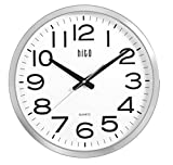 hito Silent Wall Clock Non ticking Large Oversized Excellent Accurate Sweep Movement Glass Cover, Modern Decorative for Kitchen, Living Room, Bathroom, Bedroom, Office, Classroom (16 inches, Chrome) For Sale