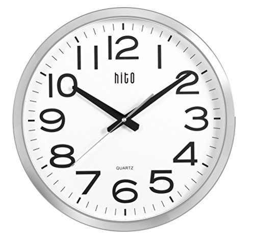 hito Extra Large Oversized Silent Non-ticking Wall Clock- Glass Cover (16 inches, - Analog Inch 16
