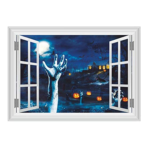 (ARAYACY 3D Horror Blood Hand Pumpkin Head Wall Sticker/Window Halloween Wall Decorative Wall)