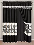 4 Piece Black / Off-White Medallion Embroidered Curtain set with attached Valance and Sheers Review