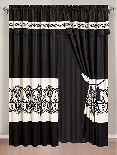 4 Piece Black / Off-White Medallion Embroidered Curtain set with attached Valance and Sheers