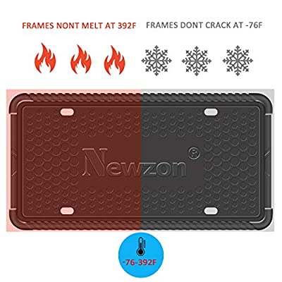 Newzon Silicone License Plate Frame - 2 Pack Black License Plate Holder for American Car License Plate Frames - 5 Drainage Holes Industrial Silicone, Anti-Impact & Waterproof, Plating Screw & Washer: Automotive