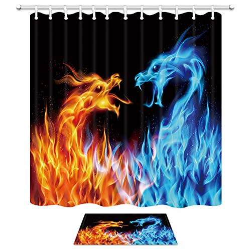 NYMB Ice Fire Dragon Shower Curtain Set, Fantasy World Giant Animals Psychedelic Dragon Bath Curtains, 69X70In Fabric Waterproof Shower Curtains with 15.7X23.6In Doormat Flannel Non-Slip Bath Mat
