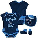 NFL by Outerstuff NFL Tennessee Titans Newborn & Infant Mini Trifecta Bodysuit, Bib, and Bootie Set Dark Navy, 12 Months