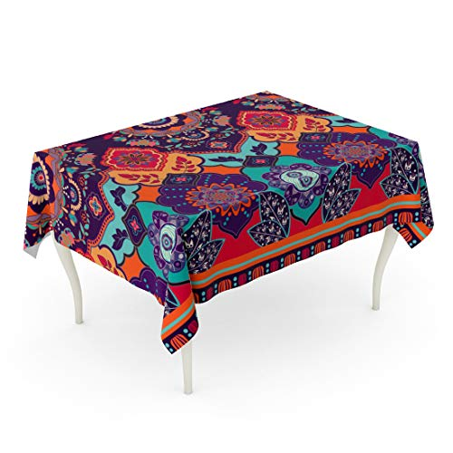 Tinmun Waterproof Tablecloth 52 x 70 Inches Abstract Colorful Ornamental Pattern Ethnic Indian Border Clipart Decorative Rectangular Tabletop Cover for Outdoor Indoor Use