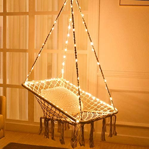 X-cosrack Hammock Chair with Lights – Cotton Square Shape for Patio Bedroom Balcony Stand NOT Included