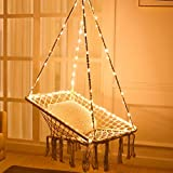 X-cosrack Hammock Chair with Lights - Cotton Square Shape for Patio Bedroom Balcony