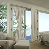 french door country curtains - FlamingoP Blackout Panel for French Door - Privacy Blackout Curtain for Glass Door/ French Door With Adjustable Tie-Back (1 Piece, W54 x L72-Inch, Ivory)
