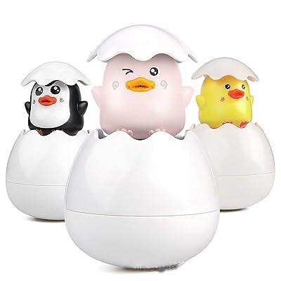 hezhixin Baby Bath Toys Cute Duck Penguin Bathroom Floating Sprinkle Egg Shower Water Toys Bathtub Toys Children's Bath Toys (Yellow): Toys & Games
