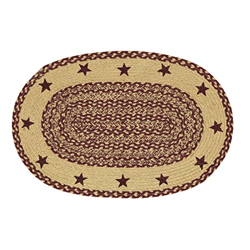 VHC Brands Classic Country Primitive Flooring - Burgundy Tan Jute Red Stenciled Stars Oval Rug, 1'8