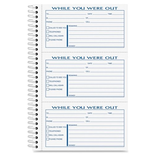 (Wholesale CASE of 20 - Tops Spiral Bound Important Message Book-Important Message Book,300 Sets,8-1/2