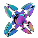 (US) Weirui 4 Side Rainbow Brass Hexagon Fidget Spinners Hand Spinner for Killing Time Fidget Toy With Premium Hybrid Ceramic Bearing Rainbow 2