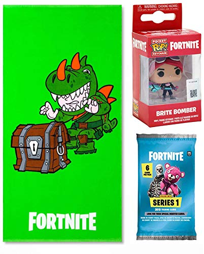 Fortnite Green Rex Character Bath & Beach Towel Bundled with Bright Gamer Series Brite Bomber Mini Figure Backpack Hanger Pop! Keychain Bundled Trading Action Cards 3 Items