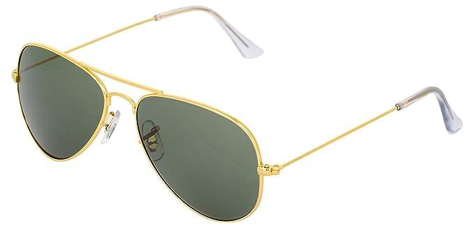 ADDON EYE WEAR Non-Polarized UV Protected Men's Sunglasses(Aviator Golden  Green-3025|50)