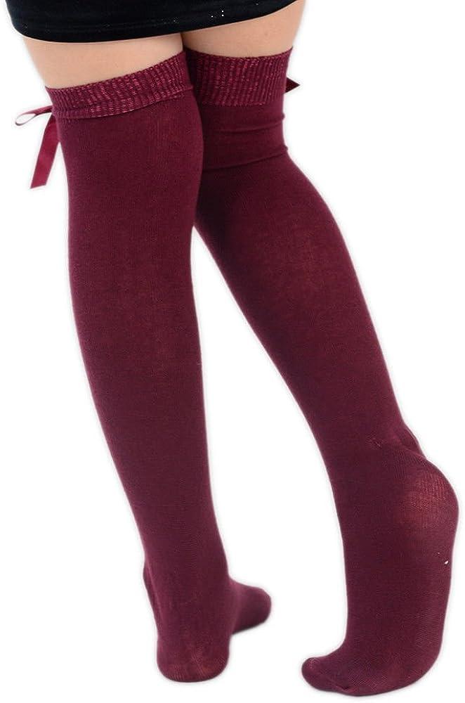 Lycra 4/pares ni/ñas rodilla alta calcetines de las ni/ñas escuela con lazo ni/ños Kids todos los tama/ño