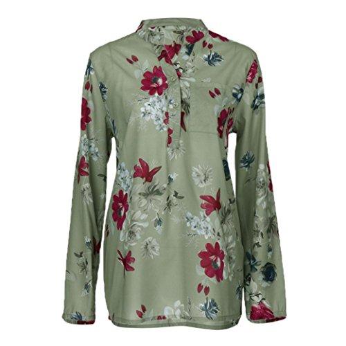 ClearanceWomensTops,KIKOY Plus Size Chiffon Floral Print Long Sleeve
