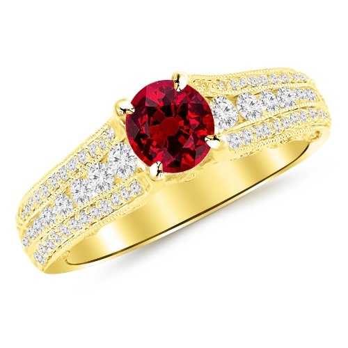 14K Yellow Gold Gorgeous Channel And Pave Set Graduating Round Designer Diamond Engagement Ring with a 1 Carat Ruby Heirloom Quality Center Gorgeous Channel Set Ruby Ring