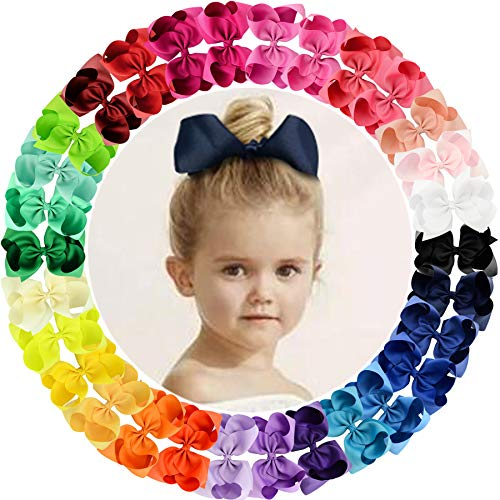 """30pcs Big 6"""" Hair Bows Clips Solid Color Grosgrain Ribbon Larger Hair Bows Alligator Clips Hair Accessories for Baby Girls Infants Toddlers Kids Teens Little Girls"""