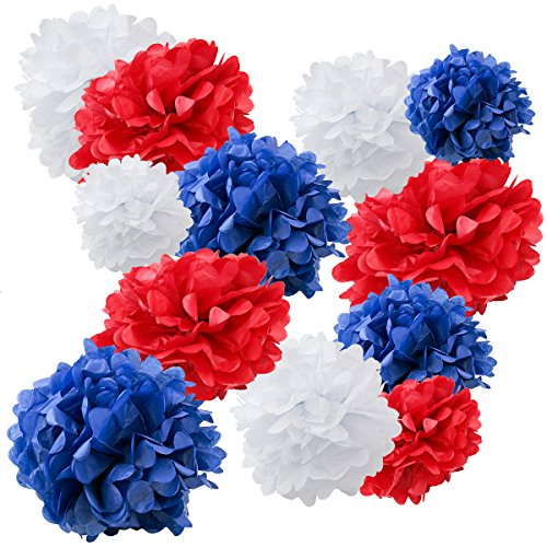 Blue Flower Set - Floral Reef Variety Set of 12 (Assorted Red White and Blue Color Pack) consisting of 8