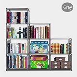 BATHWA 9-Cube Children's Bookcase and Bookshelves Adjustable DIY Cabinet Cube Bookshelf Closet Shelf Unit (Gray)