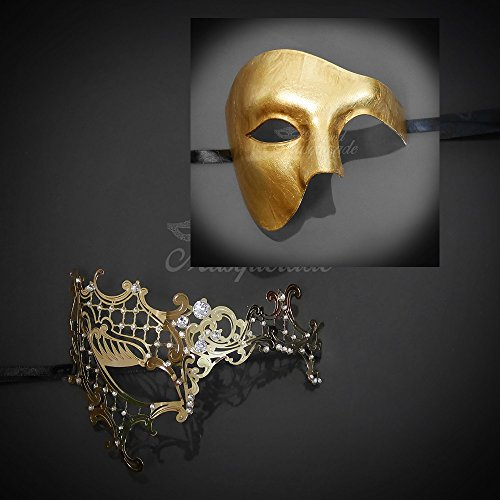 BeyondMasqeurade His and Her Gold Phantom of the Opera Themed Masquerade (Masquerade Masks Gold)