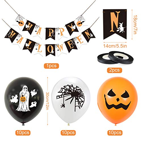 Bluelves Halloween Palloncini Decorazioni,Happy Halloween Banner Ghirlande,10 Zucca Palloncini,10 Ragni Palloncini,10 Fantasmi Palloncini Lattice per Decorazioni Accessori di Halloween Feste Party