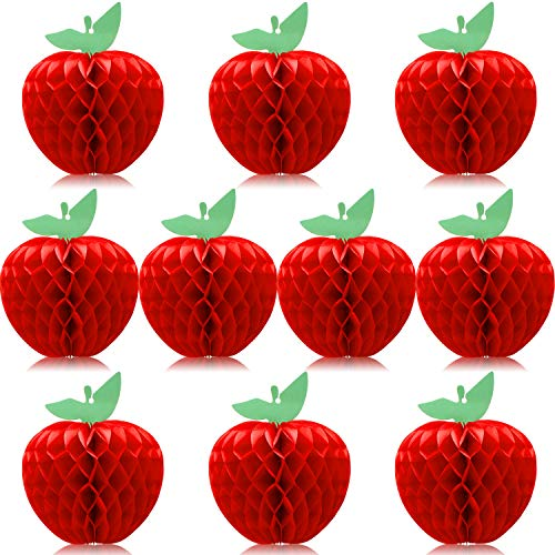 10 Packs Honeycomb Tissue Paper Apple Hanging Paper Apple Fruit Decoration for School Garden Room Party Decorations, Red (4 Inch)