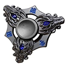 Hot sale! TOPUNDER Metal Cool Fidget Spinner Safe Tri Fidget Cube Figet Hand Spinner Metal Finger Focus Toy ADHD Autism Toy For Kids Adults 9 Birthday Gift C (Black)