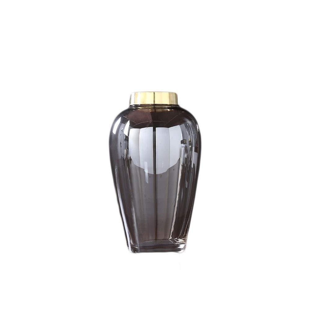 ガラス花瓶豪華な手作りクラフト水耕栽培植物煙グレーメッキゴールド透明オフィスホームデコレーション(27 * 15 cm) B07RY35KW1
