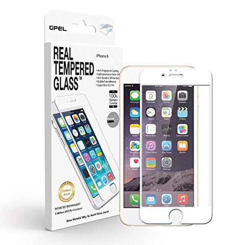 iPhone 6 / 6s 4.7in Edge to Edge Glass Screen Protector GPEL Japanese Nippon Asahi Real Tempered Glass [HD CLEAR WHITE FULL COVER] Premium Quality Glass in - Glass Federal Crystal