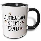 3dRose 3dRose Australian Kelpie Dog Dad - Doggie by breed - muddy brown paw prints - doggy lover love pet owner - Two Tone Black Mug, 11oz (mug_153850_4), , Black/White