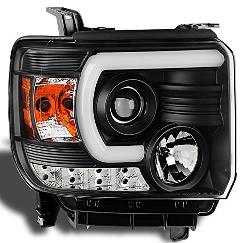 for 2014 2016 gmc sierra black fiber optic tube headlights. Black Bedroom Furniture Sets. Home Design Ideas