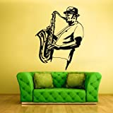 Wall Decal Vinyl Sticker Decals Music Saxophone Sax Jazz Musicans Hat z1439