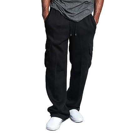 Dreamyth-Mens Men Splicing Overalls Casual Pocket Sport Work Casual Trouser  Pants (Black, b28d81a61309