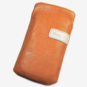 Funda de protección de piel sintética de color naranja X para SAMSUNG GALAXY S3 mini