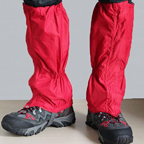 Snake Proof Gaiters (LetGoShop Unisex Water Proof Snow Snake Sand Protection Leg Gaiters Perfect for Outdoor Fishing, Camping Research,Hunting Trimming grass (Red))