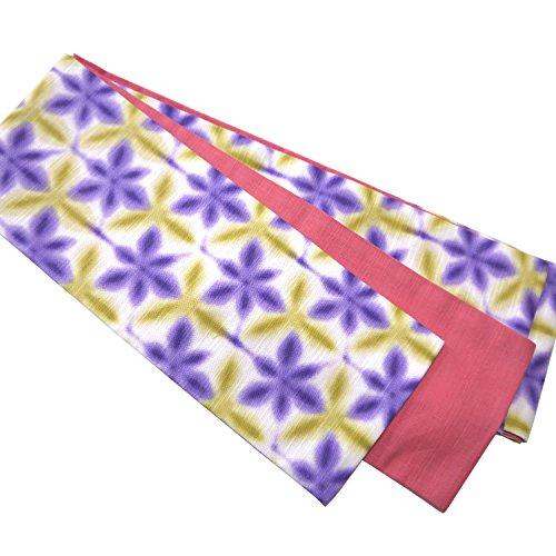 順応性基準虚偽優華壇 半巾帯 綿100% きもの ゆかた帯 六菱二雪華 黄紫