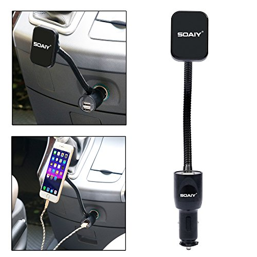 SOAIY 3-in-1 Cigarette Lighter Magnet Car Mount + Car Charger + Voltage Detector,Car Holder Cradle w/Dual USB 3.1A Charger,Display Voltage Current Compitable with iPhone8 X 6s 6 5s Samsung S8 S7 S6 by SOAIY (Image #1)