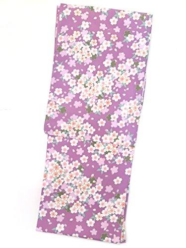 スカイタービン火山洗える着物 袷 小紋 レディース RKブランドの着物 Sサイズ 「紫 桜」RKAS2324
