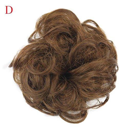 Fullfun Frauen kurze lockige chaotisch Perücken Haarverlängerungen braun schwarz D