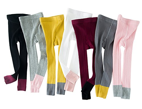 Baby Girl Footless Leggings Pants Little Girls Dance Ballet Tights Warm Stockings For Toddler Kids (Color Block Tights)
