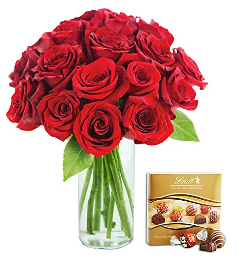 KaBloom Romantic Red Rose Bouquet: 18 Fresh Cut Red Roses (Long Stemmed)