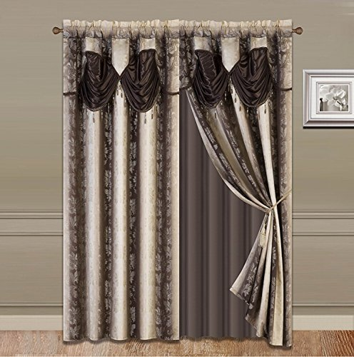 (Elegant Home Window Curtain Drapes All-in-One Set with Valance & Sheer Backing & Tassels for Living Room, Bedroom, Dining Room, and Sliding Doors - 1629 (Brown / Chocolate, 120