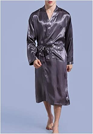 Men/'s Satin Rayon Robe Gown Solid Color Bath Lounge Nightgown Sleepwear Home