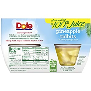 Dole Fruit Bowls Pineapple Tidbits In 100 Pineapple Juice 4 Ounce 4 Cups All Natural Pineapple Tidbits Packed In Pineapple Juice Naturally Gluten-free Non-gmo No Artificial Sweeteners from Dole Foods