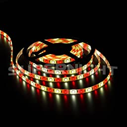 SUPERNIGHT 5050 SMD RGBW Mixed Color Flexible LED Strip Light 5m/16.4ft 300 Leds RGB Warm White Multi-color Changing Waterproof Holiday Festival Garden Home Decorative RGBW LED Light Strip + 40 Keys RGBW LED Remote Controller + 12V 5A Power Supply Adapter